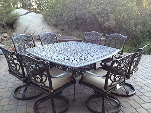 "Heritage Outdoor Living Santa Monica Cast Aluminum 9pc Outdoor Patio Set with 64""x64"" Square Table - Antique Bronze"