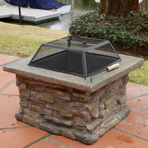 "Christopher Knight Home 237673 Elegant 29"" Outdoor Patio Firepit w/Iron Fire Bowl, Stone Base, Mesh Cover, Natural"