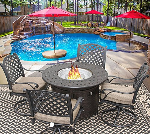 NASSAU 42 INCH ROUND OUTDOOR PATIO 5PC DINING SET FOR 4 PERSON WITH ROUND FIRE TABLE SERIES 7000 - ANTIQUE BRONZE FINISH