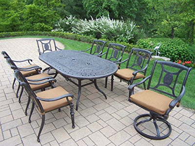 Oakland Living Victoria 9-Piece Set with 84 by 42-Inch Oval Table, 6 Chairs, 2 Swivel Rockers and Sunbrella Cushions