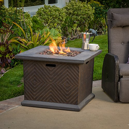 Clark Outdoor 32-inch Square Liquid Propane Fire Pit with Lava Rocks