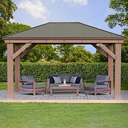 12' x 16' Cedar Gazebo with Aluminum Roof