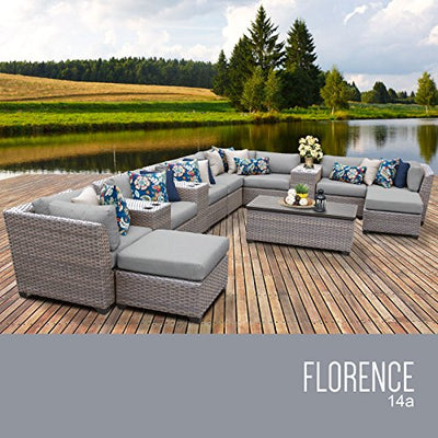 TK Classics FLORENCE-14a-GREY 14 Piece Outdoor Wicker Patio Furniture Set, Grey