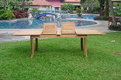 "9-pc Outdoor Teak Dining Set: 117"" Rectangle Extension Table & 8 Osbo Armless Chairs"