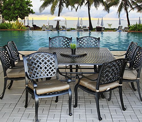 "Heritage Outdoor Living Cast Aluminum Nassau Outdoor Patio 9pc Dining Set with Series 5000 64"" Square Table - (All Standards) - Includes 35"" Lazy Susan & Cushions - Antique Bronze Finish"