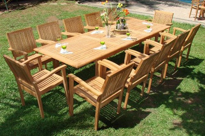 "New 13 Pc Luxurious Grade-A Teak Dining Set -117"" Rectangle Table And 12 Stacking Leveb Arm Chairs #WHDSLVh"