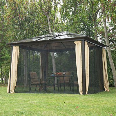 ANA Store Beige Yard Leisure Kiosk Pavillian 12'x10' Outdoor Patio Canopy Party Steel Frame Gazebo Shelter Hardtop with Mesh Netting Curtains