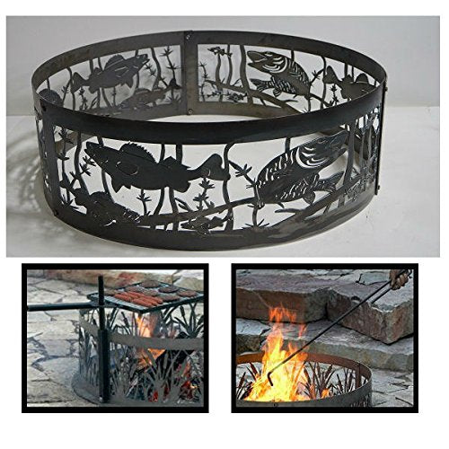 PD Metals Steel Campfire Fire Ring Fishing Hole Design - Unpainted - with Fire Poker and Cooking Grill - Extra Large 60 d x 12 h Plus Free eGuide
