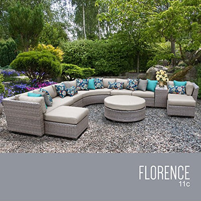TK Classics FLORENCE-11c-BEIGE 11 Piece Outdoor Wicker Patio Furniture Set, Beige