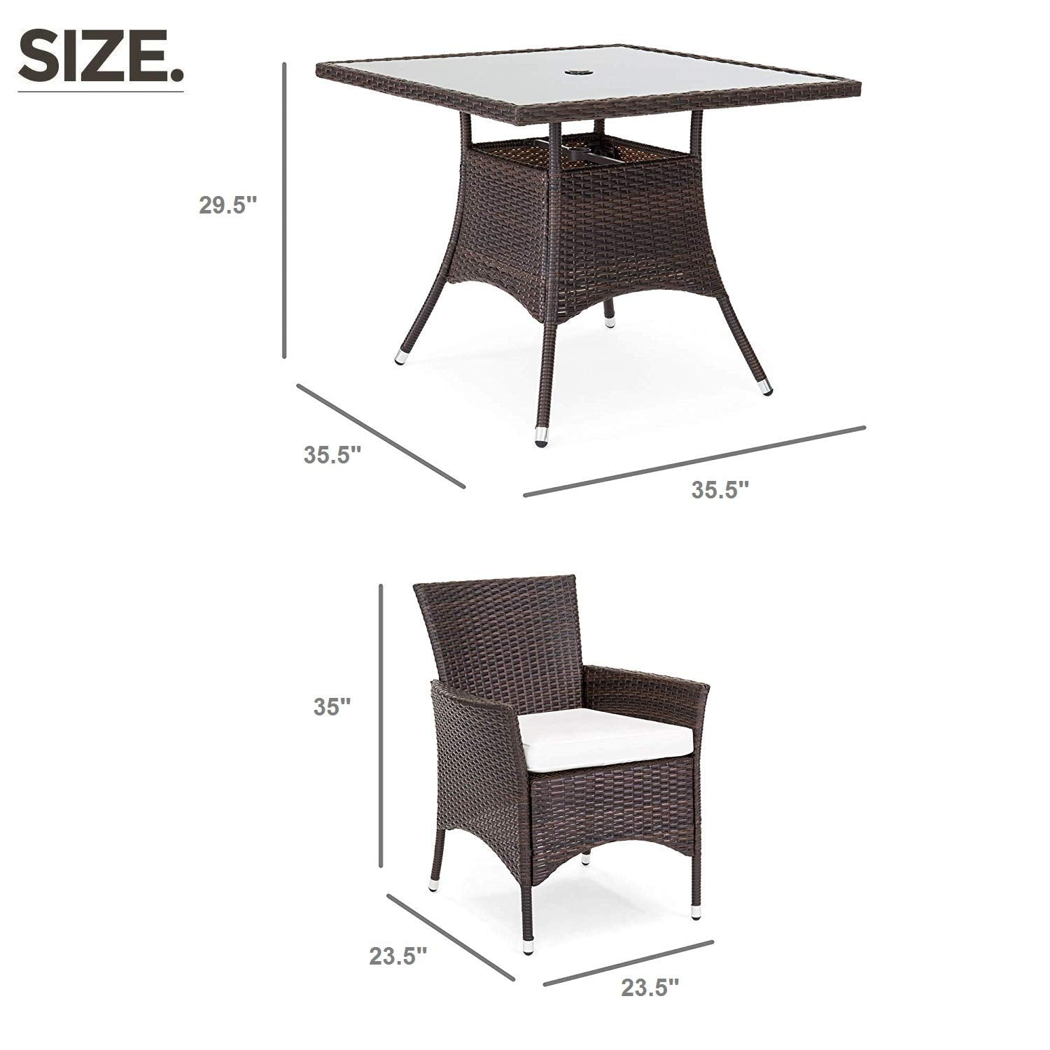 Brown Wicker OAKVILLE FURNITURE 61205 5-Piece Patio Set Square Glass Top Dining Table with Standard Umbrella Hole 4 Outdoor Chairs Beige Cushion