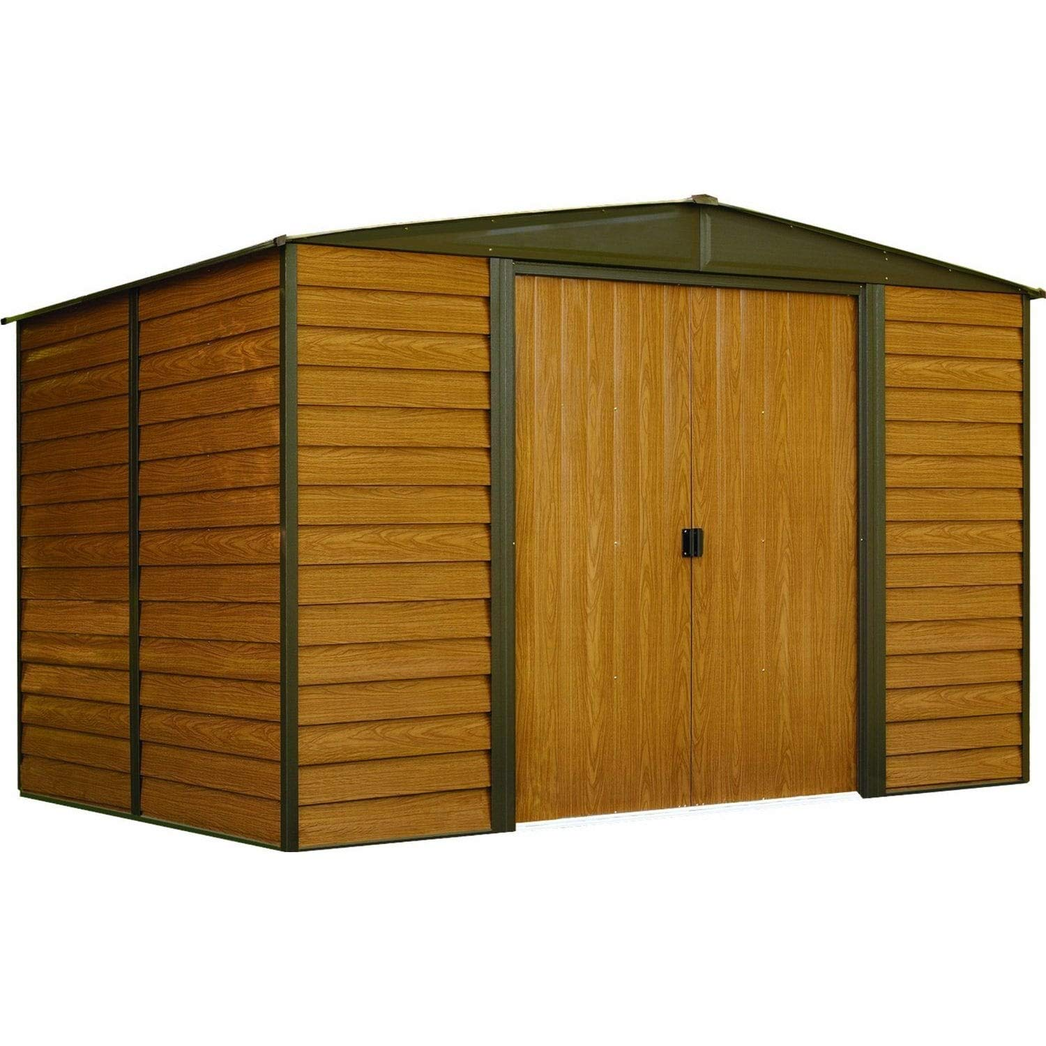 10 X 8 Ft. Steel Storage Shed Coffee/Woodgrain Brown