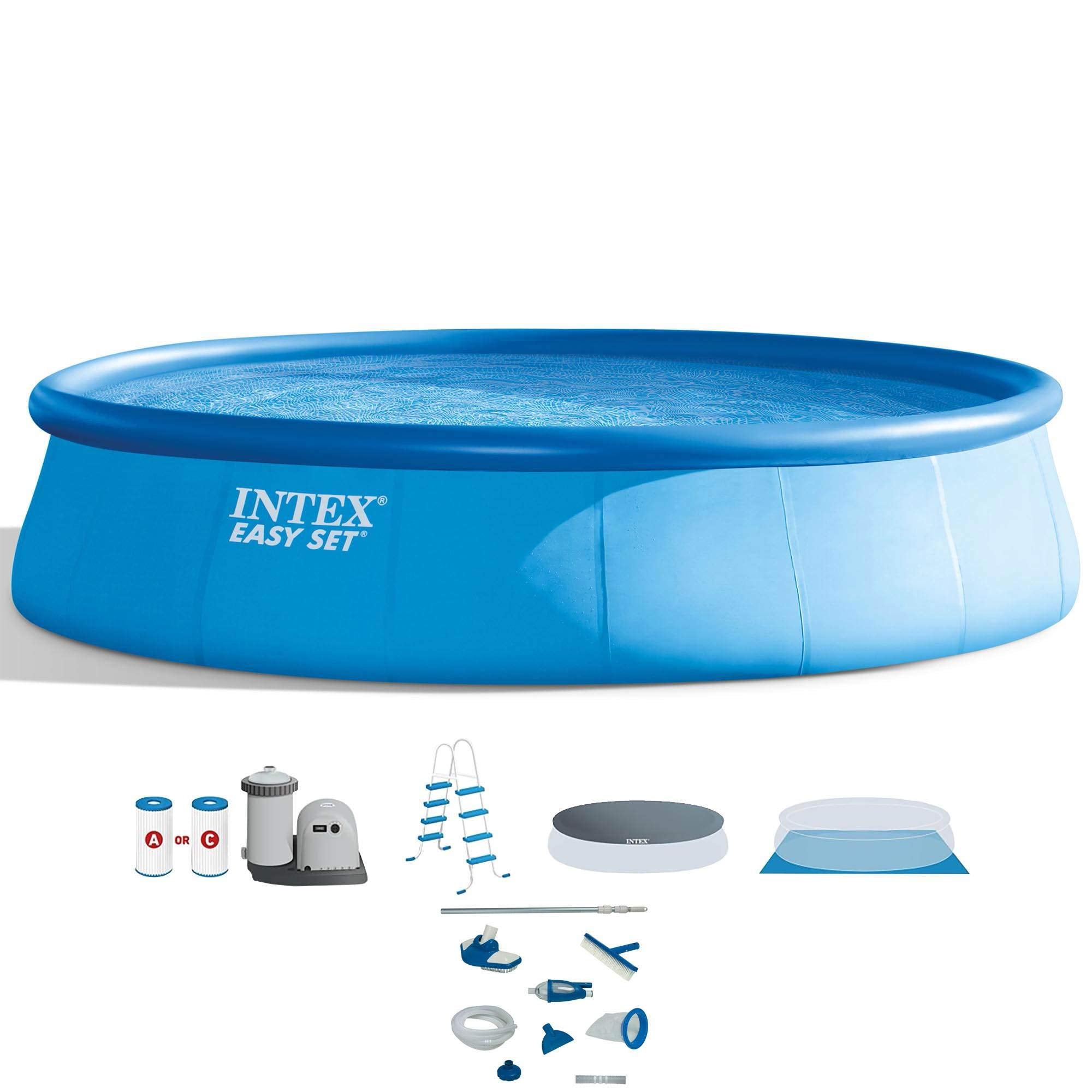 "Intex 18' x 48"" Inflatable Easy Set Pool with Ladder, Pump, and Maintenance Kit"