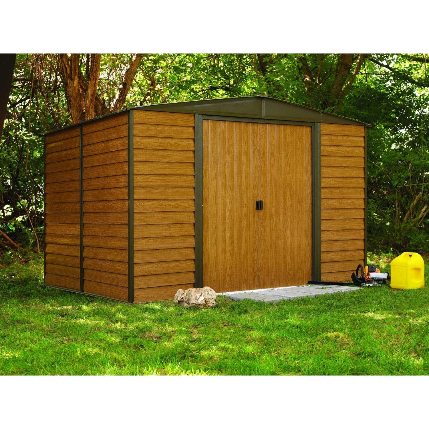 10 X 12 Ft. Steel Storage Shed Coffee/Woodgrain Brown