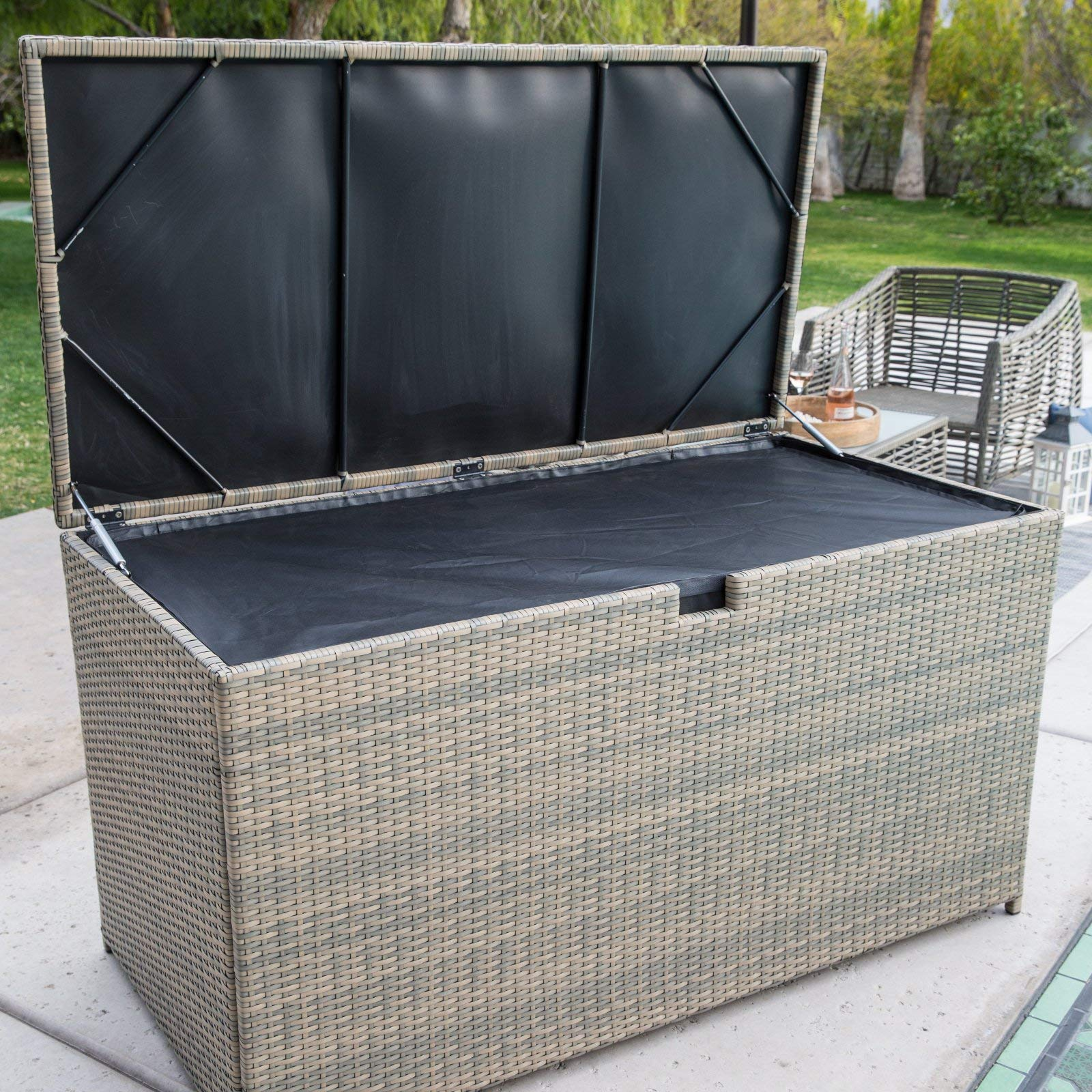 190 Gallon Tonal Brown Gray Resin Wicker Deck Box with Protective Liner Patio Storage for Outdoor Living