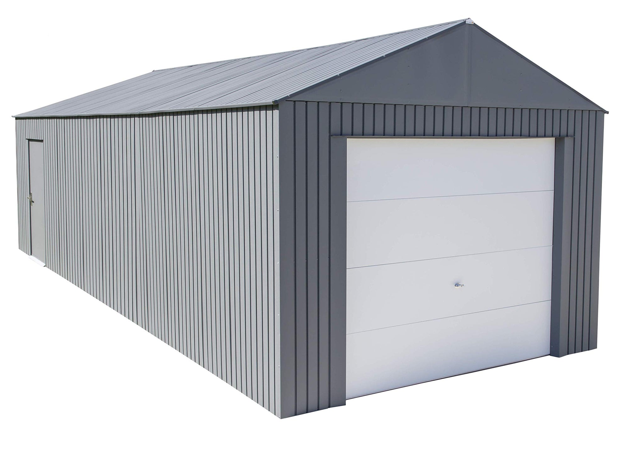 Sojag 12' x 30' Everest Galvalume Steel with Extra Tall Walls Garage Storage Building, Charcoal