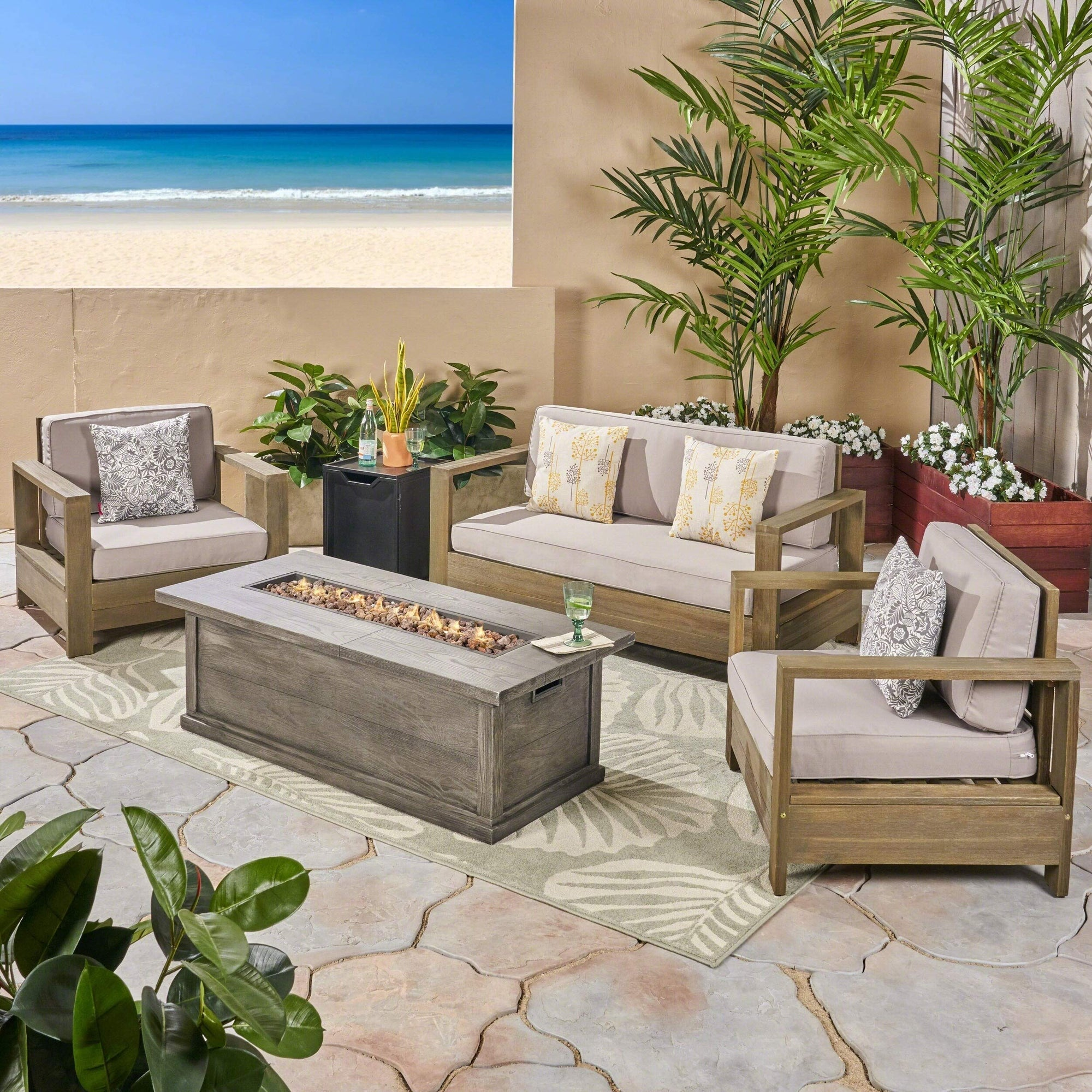 Christopher Knight Home Devon Outdoor 4-Seater Acacia Wood Chat Set with Fire Pit and Tank Holder by Christopher Knight Brushed Gray + Light Gray