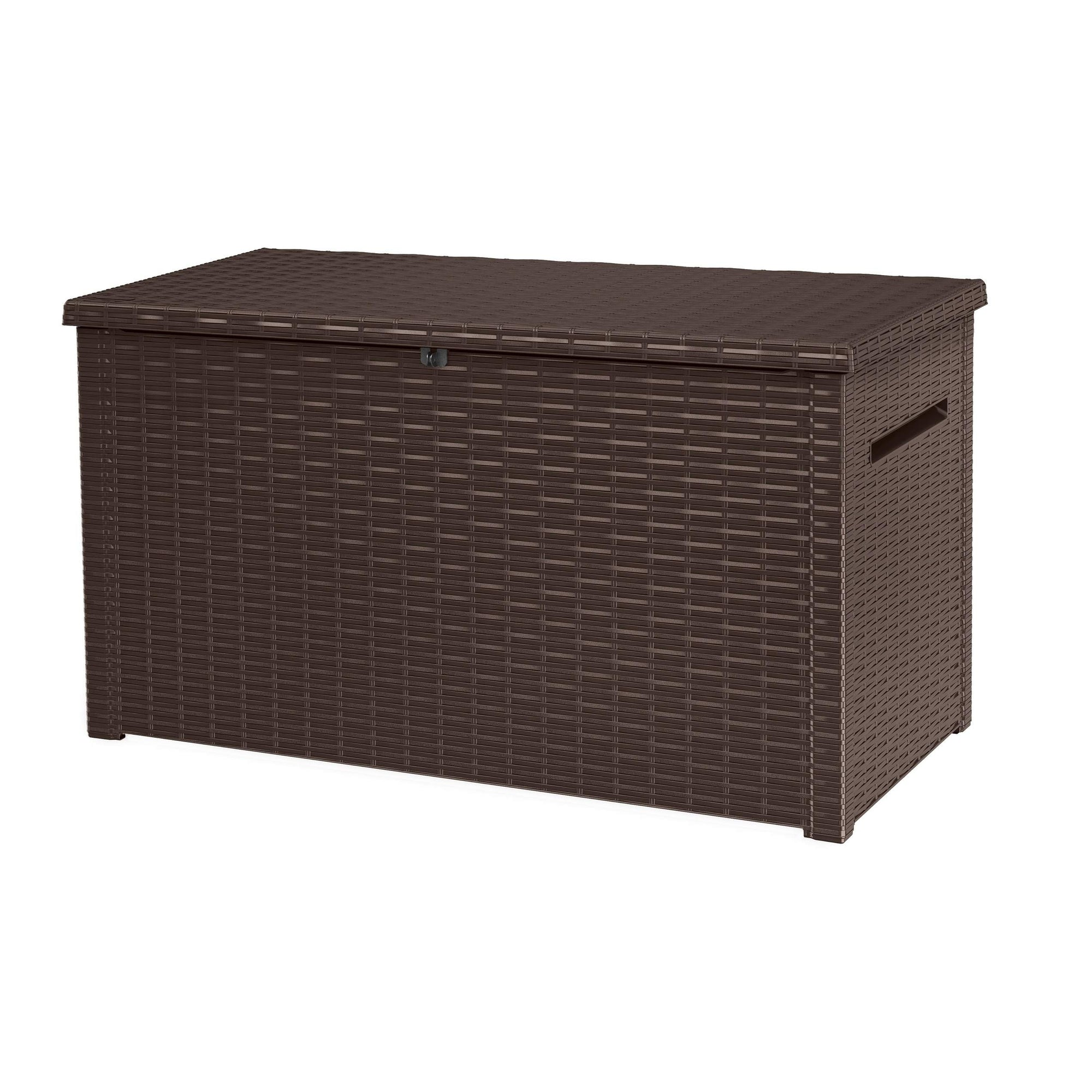 230 Gallon Plastic Resin Outdoor Deck Box Brown Lockable Uv Protected Water Resistant