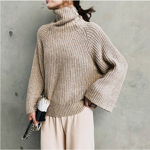 Solid color retro loose turtleneck sweater