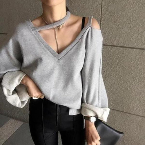 Casual V Neck Pure Colour Long Sleeve Sweater