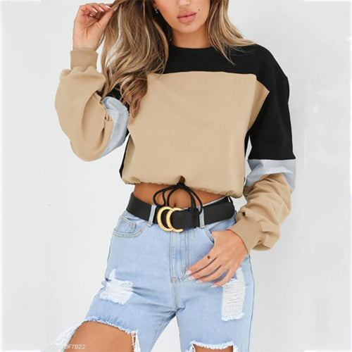 Crew Neck  Drawstring Elastic Waist Patchwork  Belt Loops  Plain  Raglan Sleeve Hoodies & Sweatshirts
