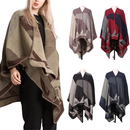 Fashion Casual   Imitation Cashmere Shawl Warm Knitted Cloak