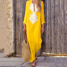 Load image into Gallery viewer, Fashionable Cotton/Line Casual V-Neck Yellow Boho Dress