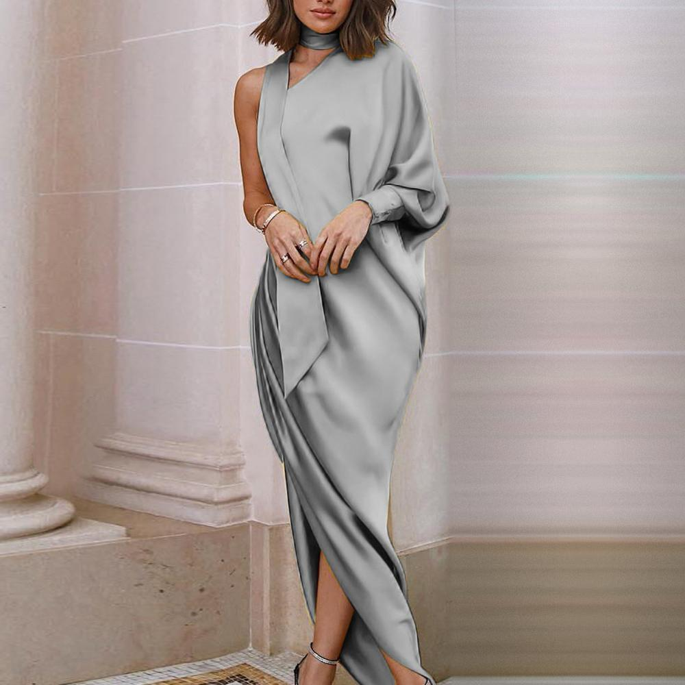 Online womens elegant party dress with one shoulder princess sleeve where rappers