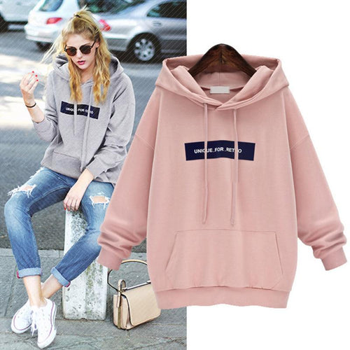 Letters Printed Loose Bat Sleeve Hoodies