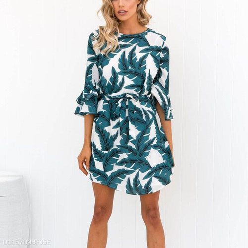 Fashion Trumpet Sleeves Floral Leaves Mini Dress
