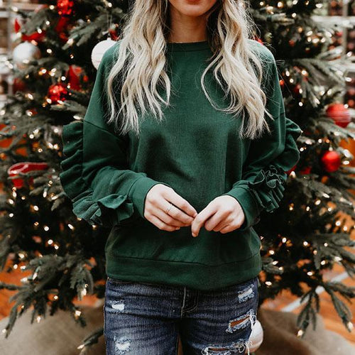 Fashion Ruffle Long Sleeve Sweatshirt