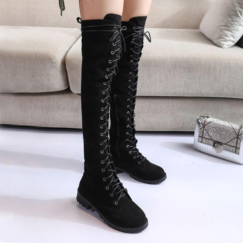Plain  Flat  Velvet  Round Toe  Outdoor  Thigh High Flat Boots