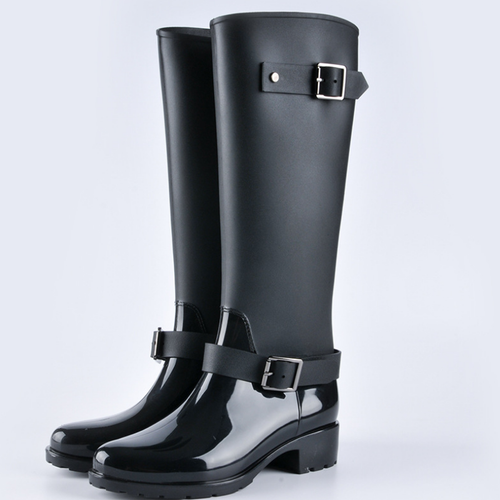 Fashion Round Toe Plain Belt Buckle Waterproof Rain Boots