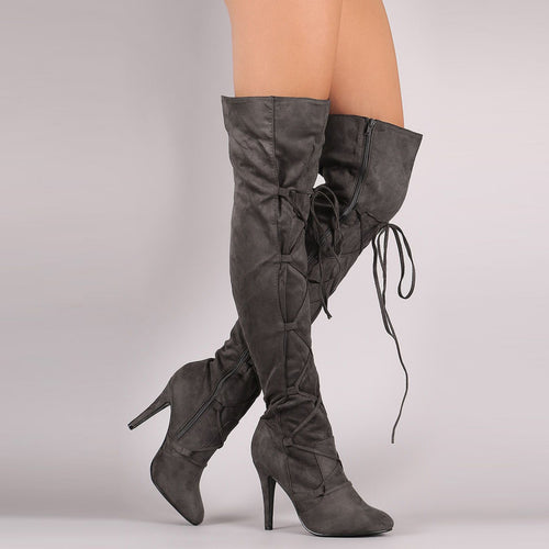 Sexy Women Lace-Up Stiletto Heel Knee Boots