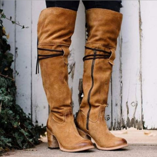 Plus Size Chunky Heel Boots Side Zipper Knee Boots