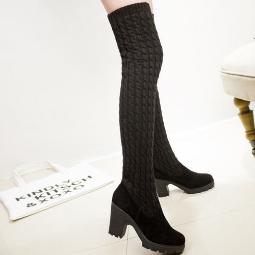 Women Nubuck Over Knee Boots Wool Knitting Boots