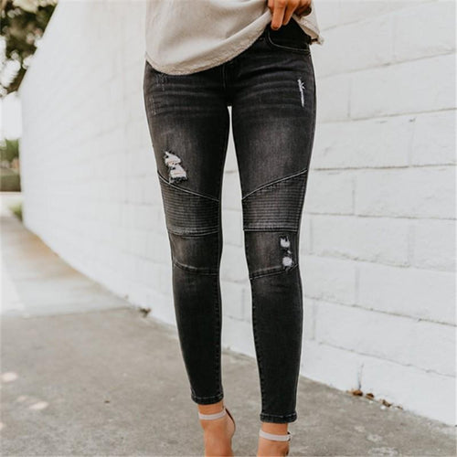 Ripped Stretch Drapery Jeans