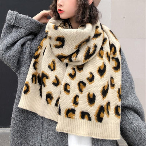 Fashion Leopard Print   Thickened Knitted Shawl Scarf