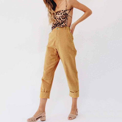 Fashion Casual Pure Color Corduroy Straight Pants