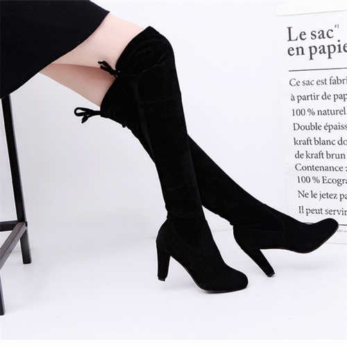 Fashion Round Head High Heel Suede Frenulum Martin Boots
