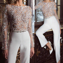 Load image into Gallery viewer, Fashion Elegant Pure Colour Splicing Sequins Jumpsuits