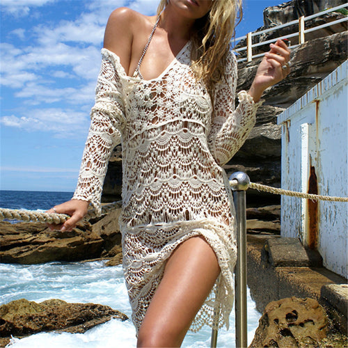 Sexy Hollow Out Long Sleeved Beach Dress