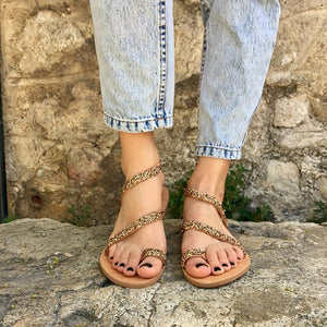 Colour-Drill Open-Toed Sandals