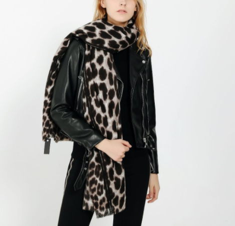 Leopard-Like Cashmere Warmth Thickening Ladies Scarf