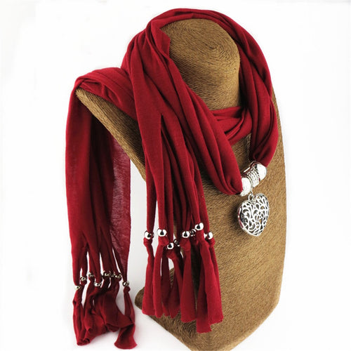 Fashion Vintage ethnic style Hollow out peach   heart pendant scarf