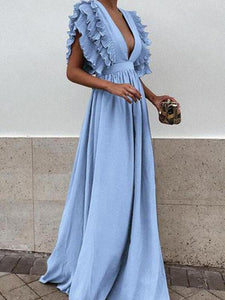 Sexy Gray V Neck Short Sleeves Maxi Dress