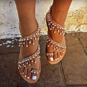 Famous style Pearl decorated large size sandals