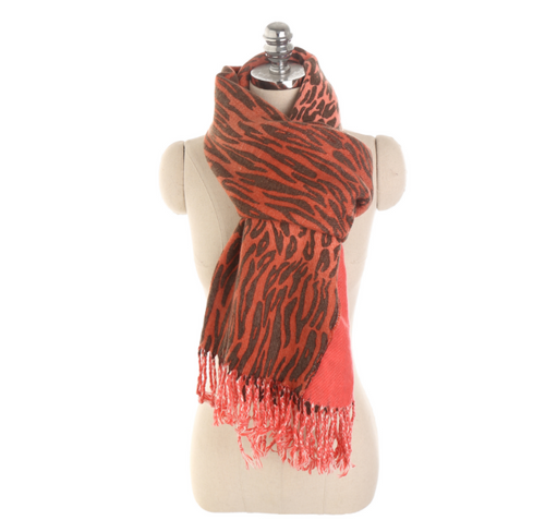 Multi-Color Leopard 3D Imitation Cashmere Warm Tassel Scarf