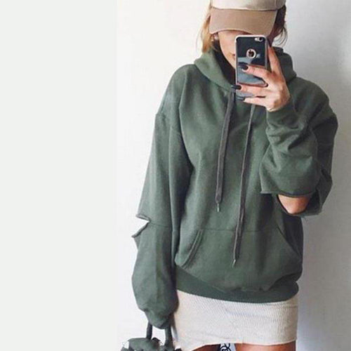 Fashion Hooded  Cutout Hoodies