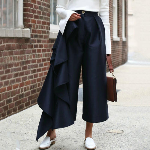 Fashion Solid Color   Loose Broad Leg Trousers