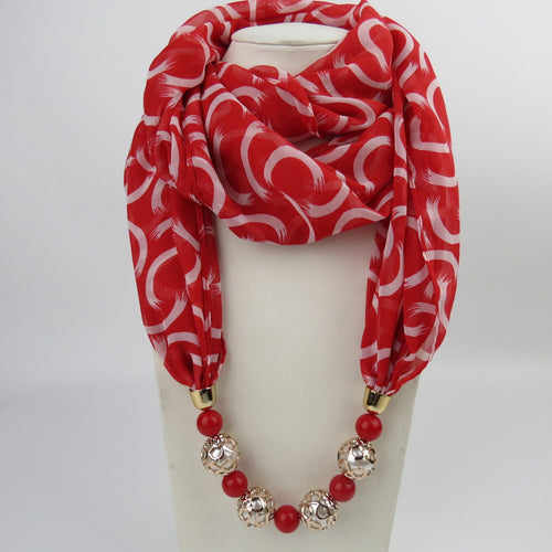 Fashion Vintage ethnic style Chiffon scarf   necklace beads pendant scarf